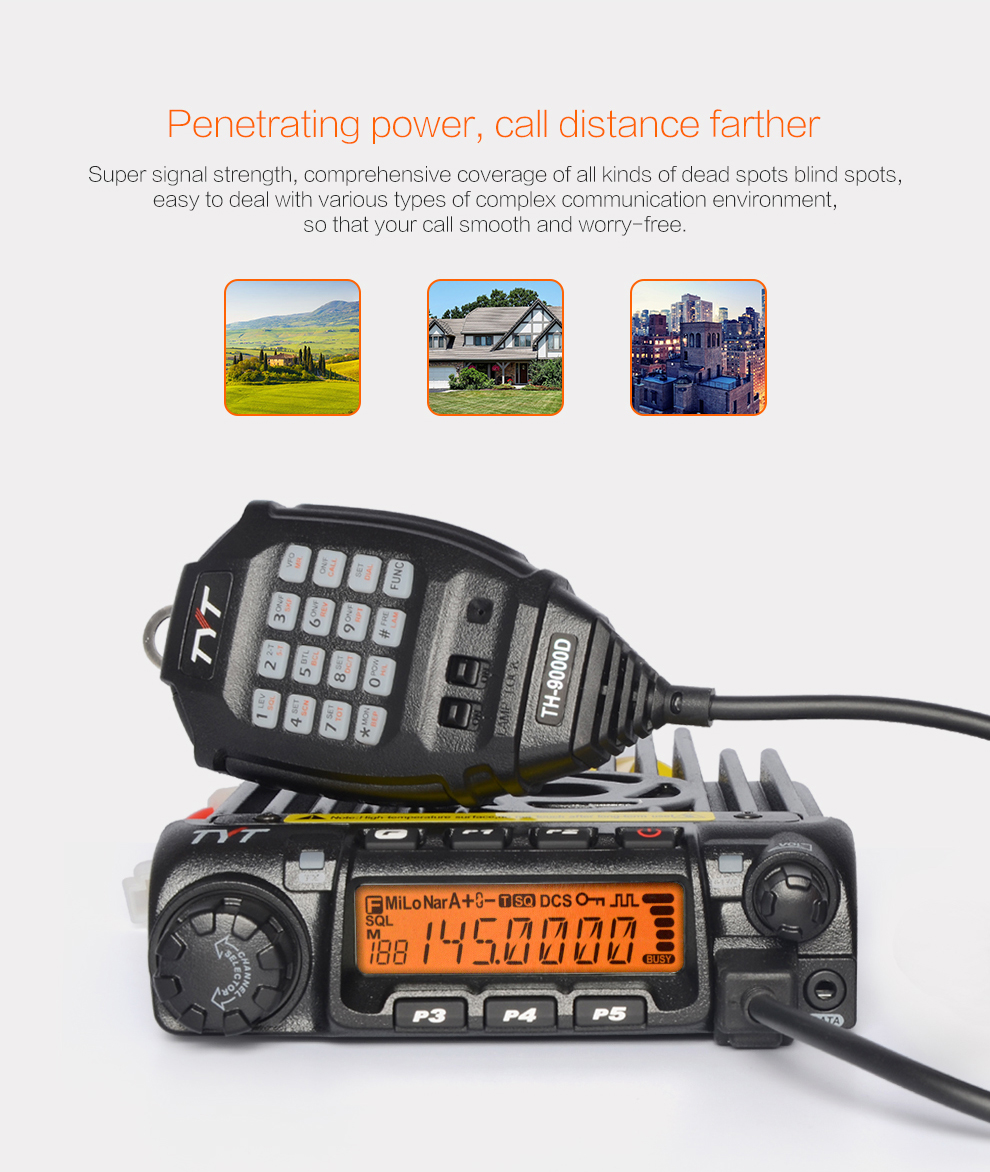 65W High Power VHF/UHF mobile Transceiver TH-9000D vehicle mouted Walkie talkie with long range