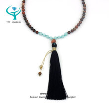 Turquoise Wood Dyed Jade Beads Wholesale Jewelry Handmade black tassel necklace