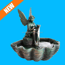 custom resin mini fountain fairy garden with LED Lights