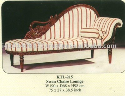 Swan Chaise Lounge Mahogany Indoor Furniture.