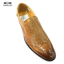 100% genuine leather italian pointed toe brogue summer hollow shoes men