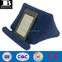 top quality flocking surface inflatable book pillow durable non-slip blow up wedge stent perfect for kindle pad cellphone