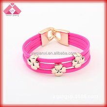 Best Friend Custom Snap Leather Plastic Flower Bangles For Wholesale-BG15079