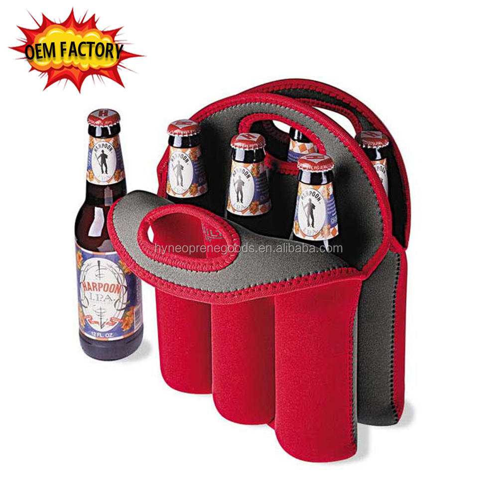 330ml 6 pack neoprene beer bottle tote cooler bag