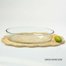 Heat resistant shallow glass bowl for microwave oven