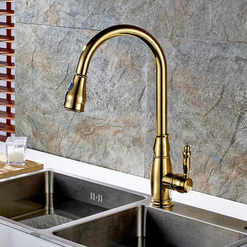 Factory directly gold pull out kitchen faucet