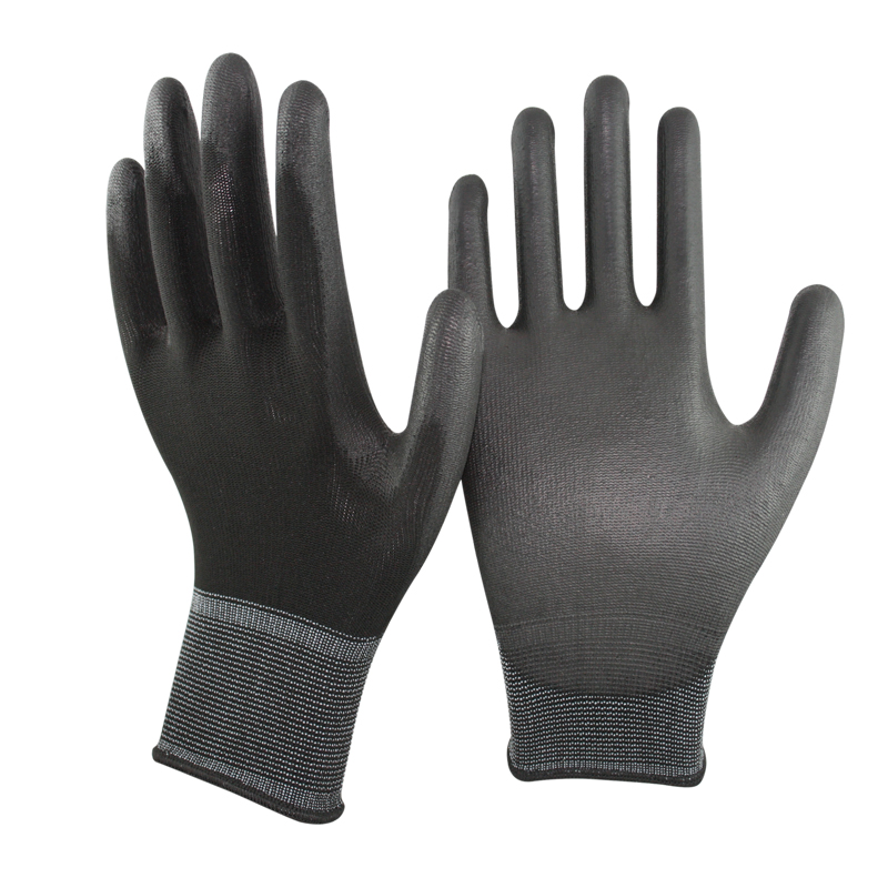 SRSAFETY 13G black knitted liner coated thin PU on palm working gloves