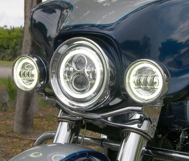"harley headlight 7"" angel eyes motorcycle led headlight from car light manufacturer"