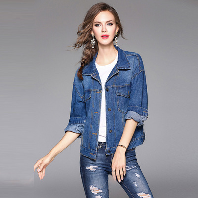 China Factory OEM Denim Windproof Hot Saling Pockets Metal Button Embroidery Casual Loose Women Custom Jean Jacket Wholesale