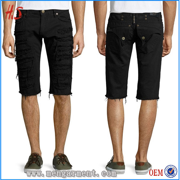 XXX Photo Sexy Men Black Overdyed Distressed Cargo Shorts Pants With Six Pocket