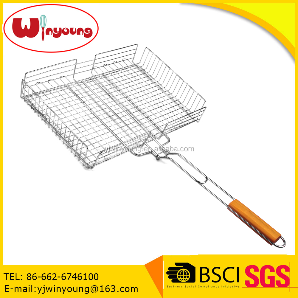 Chrome plate Adjustable BBQ Grill Basket for Roast Barbecue with Wood handle