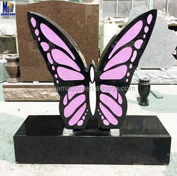 Hot seller Cheap Upright Butterfly Granite Headstone