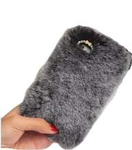 Bling crystal warn real rabbit fur case for iPhone 7, for iPhone 7 plus