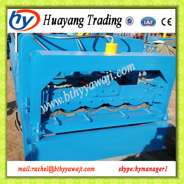 Huayang Asphalt single Color automatic glazed tile steel roll forming machine,roofing process line with elegant apperance