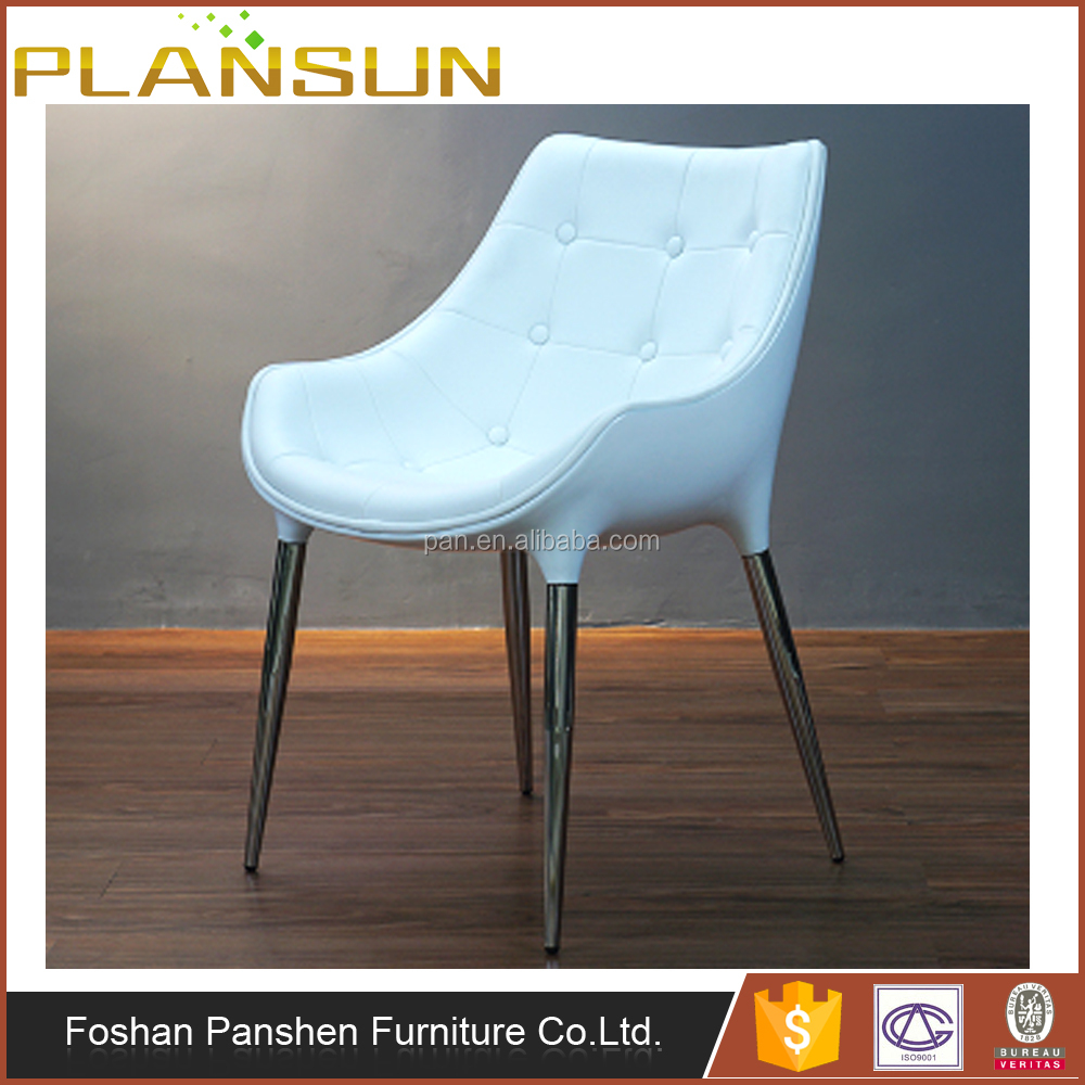 Stylish home furniture chrome legs leather finished Passion Dining Arm chair