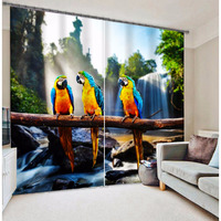 Fashion parrots printed room divider curtian