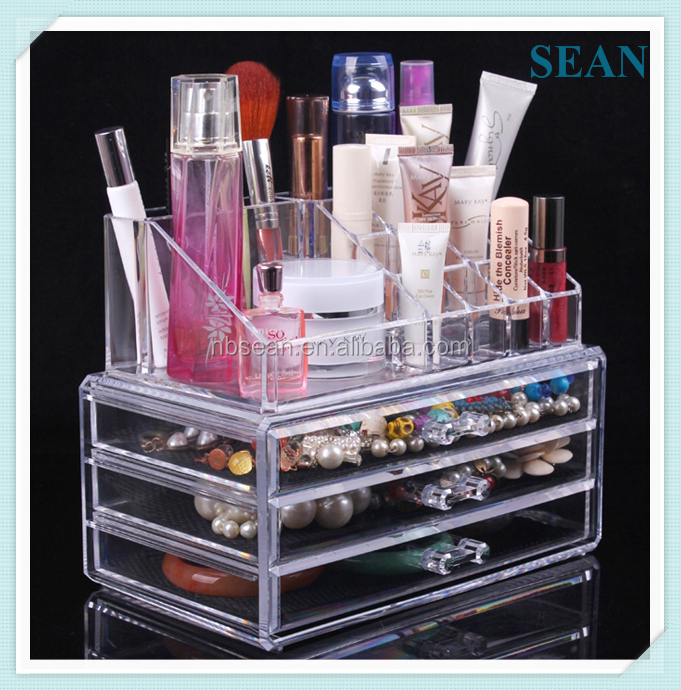 High quality acrylic makeup storage organizer with drawer