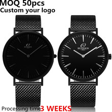 Italian brand owner factory low price brand watch mens custom design all black wrist watch