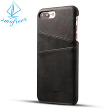 Custom unique design leather phone case for iphone 7, leather back cover case with card holder for iphone 6/7