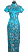 Promotion Chinese Lady Satin Prom Gown Dress Long Cheongsam Qipao Wedding Party Dress