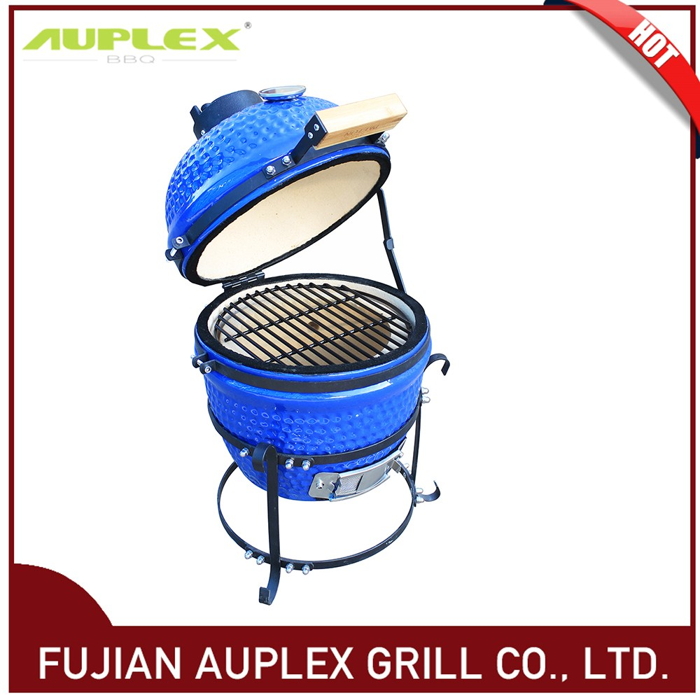 New Premium Ceramic Kamado Smoker Charcoal BBQ Barbecue Grills 13 inch blue color