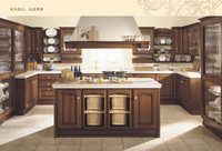 Frameless beech wood kitchen cabinet with island