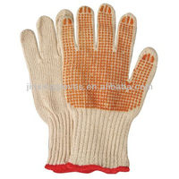 Natural cotton knit gloves rubber dots