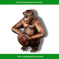 2015 high quality garden decor antique bronze monkey statue