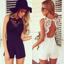 Sexy Backless Lace Casual Beach Ladies Romper Jumpsuit