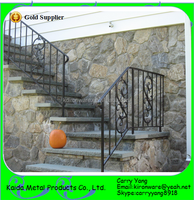 Decorative Wrought Iron Handrails Outdoor Stairs, Outdoor Iron Stairs
