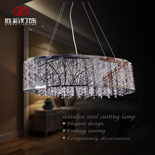 2016 modern energy saving chrome silver steel cutting lamp led lights crystal chandelier pendant light for home dining room