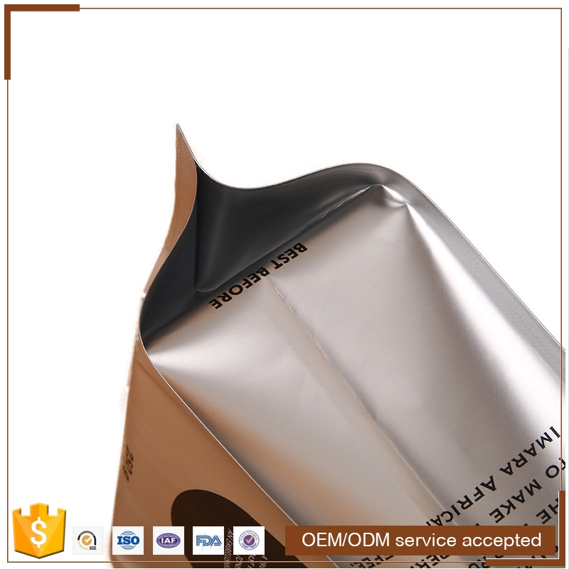 Aluminum foil stand up side gusset coffee bag coffee bean and powder packing aluminium foil coffee zipper pouches