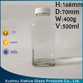500ml French square shape glass milk bottle