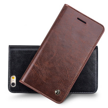 QIALINO Top quality handmade Real Leather Flip Wallet Case Cover For Apple iPhone 6 4.7