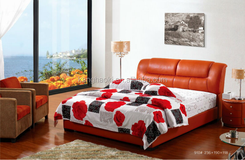 RED modern half leather solid wood bed