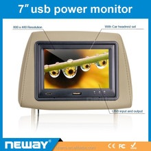 TFT Widescreen 7 inch headrest car monitor with USB display