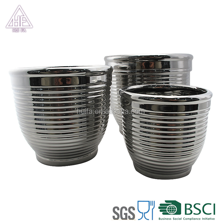 Eurpean Round wire shape ceramic flower pot decorative