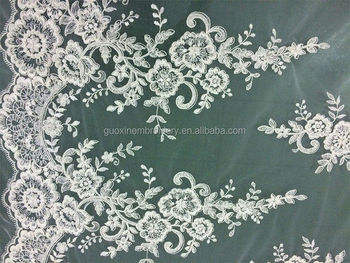 Embroidery sequins bead flower lace fabric china factory
