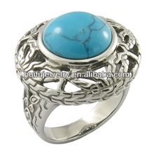 Round turquoise on middle of the steel ring jewelry