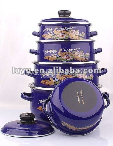 Promotion bright color printing enamel casserole cookware set south africa/ mideast/europe/USA