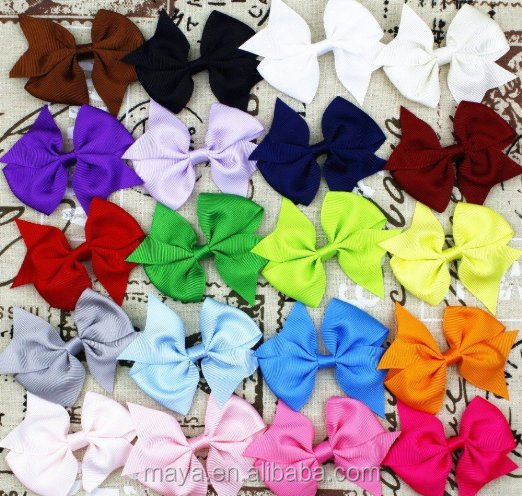 "20pcs 3"" Boutique Hair Bows Girls Kids Children Alligator Clip Grosgrain Ribbon hair bows with clips 20 Color"