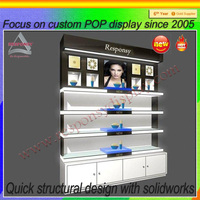 hot new products Fashion Mac Makeup Wooden Cosmetic Display Stand