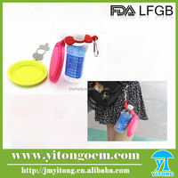 Food grade silicone dog folding bowl with bottle band and clip