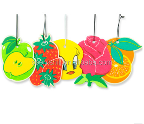 Fruit smell perfume paper hanging car air freshener for market compaign