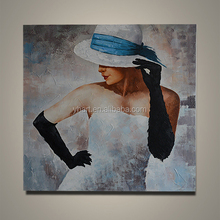 Figure Canvas Oil Painting Wall Art Blue Color Home Decor