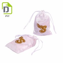 cheap jewelry pouch small pattern printing satin drawstring bags