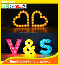 Wedding clothing shop lighting bulb advertising sign letters