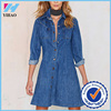 Wholesale Yihao Autumn Ladies Fashion Pockets Blue Shirt Mini Clothes Casual A-line Jeans Dresses for Women 2016