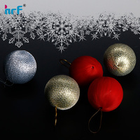 Christmas tree decorations silk thread baubles three colors ,Fabric Ball Christmas Ornaments