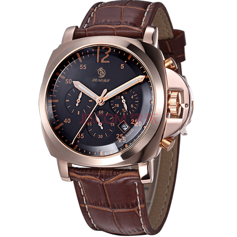 Premium genuine leather strap design your own business quartz steel fashion wrist watch men chronograph